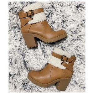 Shearling Faux Fur Chunky Heel Ankle Booties
